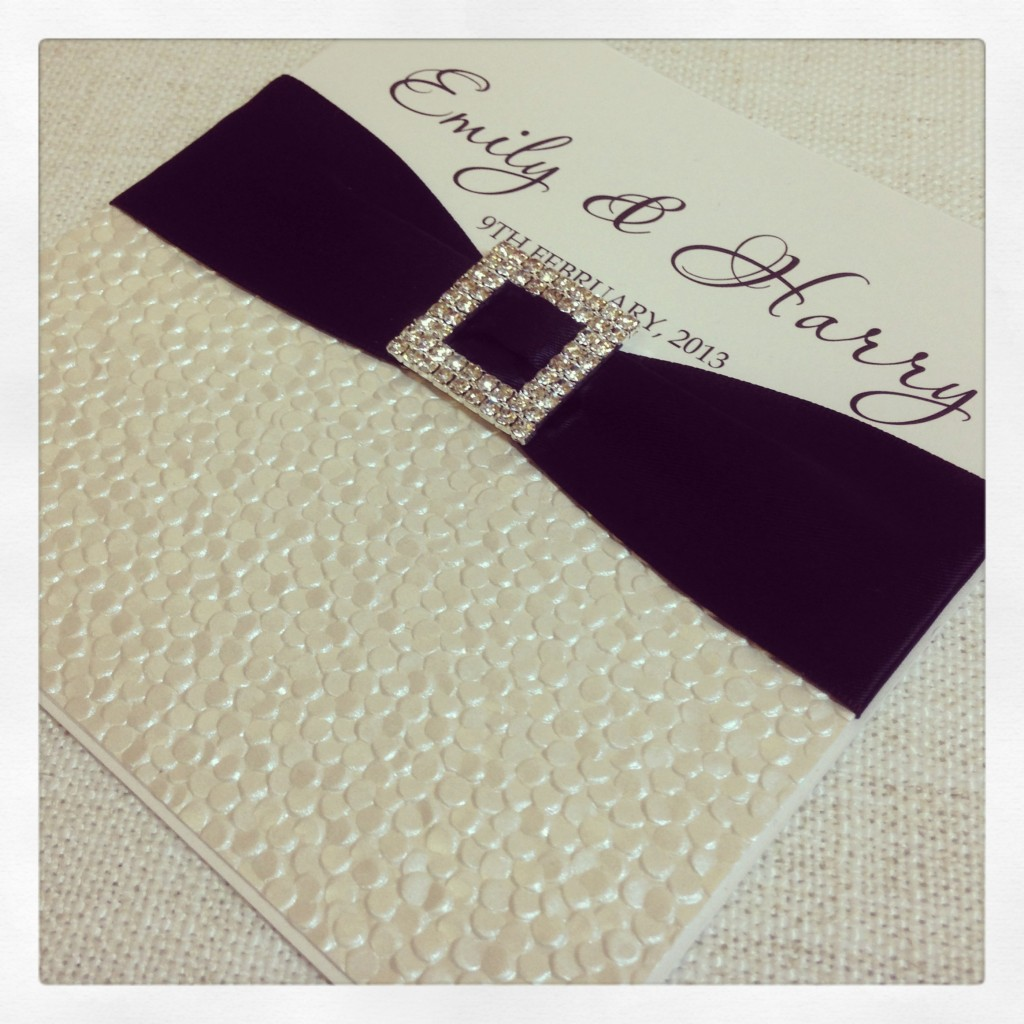 black and white glamour wedding invitation simply