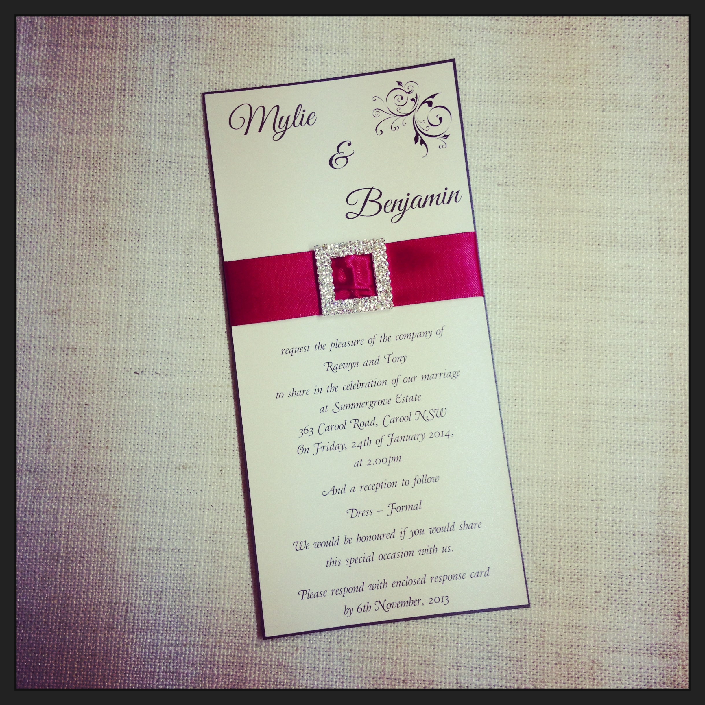 Diamante Buckle Wedding Invitation2